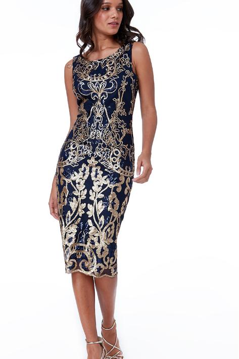 Sequin Embroidered Midi Dress
