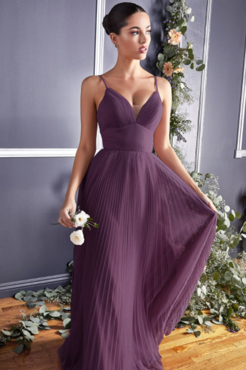 A-line Tulle Dress Evening / Bridesmaid W/ Pleated Finish