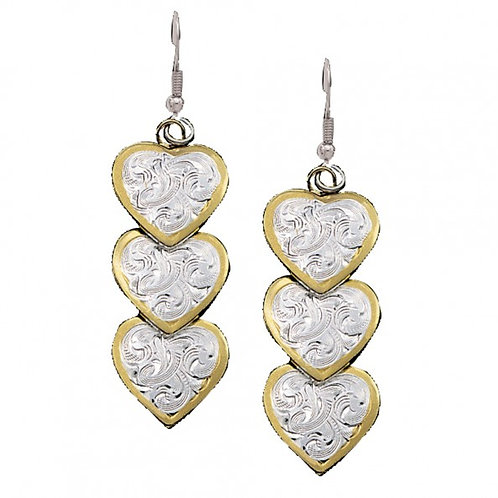 Hearts, Silver and Gold Dangle Earrings