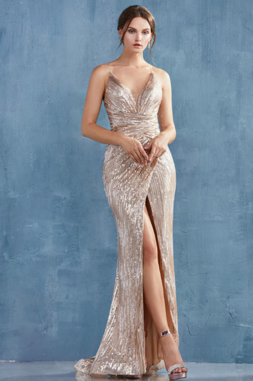 ANDREA & LEO Thalia v-Neck Ruched Sequin Gown