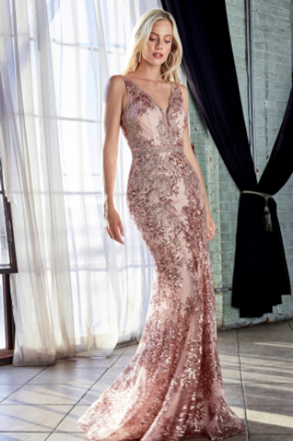 Cinderella Divine Fitted Lace Gown W/Sequin Applique