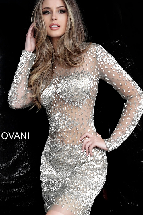 Taupe Beaded Long Sleeve Sheer Cocktail Dress 3148