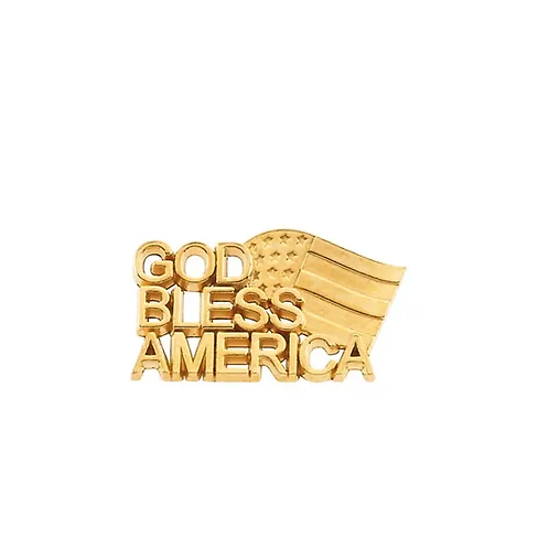 14K Yellow 20.5x11.5 mm God Bless America Lapel Pin