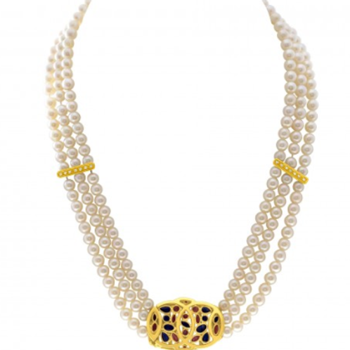 Classic triple strand pearl necklace with two 18k diamond inserts
