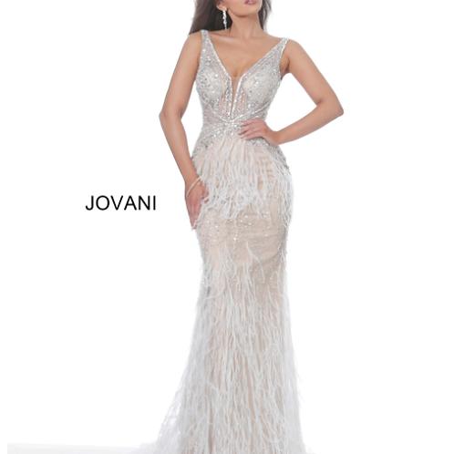 Jovani 03023 Blush Plunging Neck Embellished Evening Dress