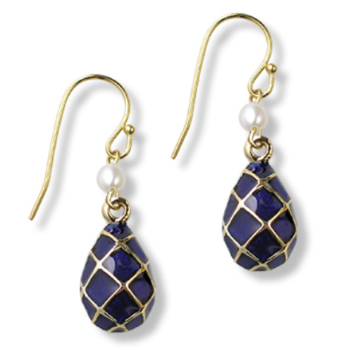 Imperial Blue Argyle Egg Earrings