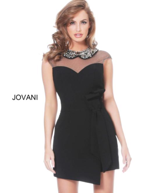 Jovani 03660 Black Embellished Neckline Contemporary Romper