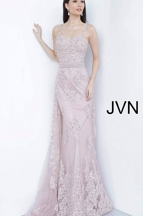 JVN2444 Dusty Rose Embroidered Sweetheart Neck Evening Dress