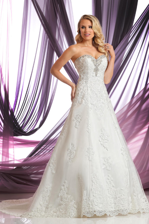 Strapless Stunning Embroidered Bridal Gown