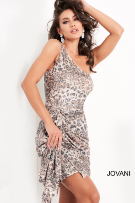 Jovani 04311 Multi Print One Shoulder Homecoming Dress