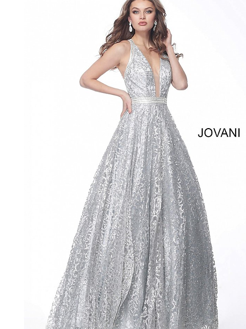 Silver Brocade Plunging Neck Open Back Evening Gown 62739
