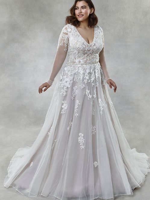 Tulle Illusion/V-neck Embellishment: Lace Bridal Gown