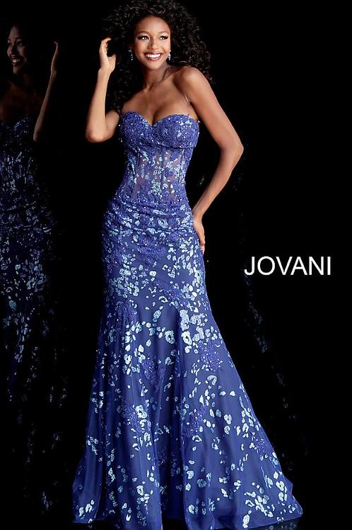 Royal Glitter Embellished Strapless Mermaid Prom Dress 62746