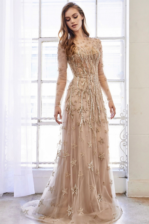 Andrea & Leo Estelle Long Sleeve Beaded Constellation A-Line Gown