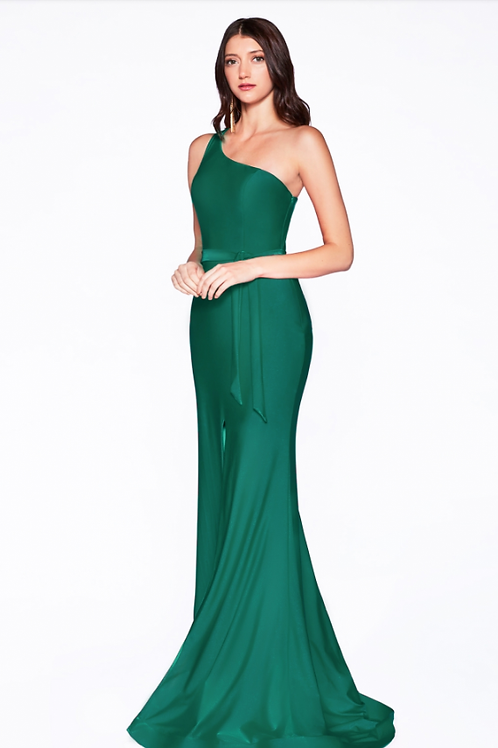 Fitted One-shoulder Gown WLeg Slit