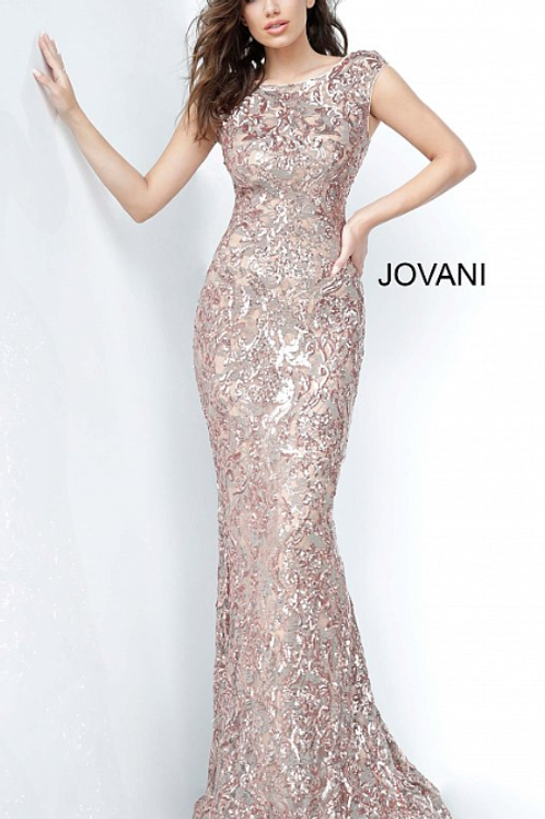 Jovani 1123 Form Fitting Boat Neck Evening Dress