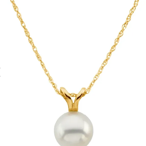 "14K Yellow Akoya Cultured Pearl 18"" Necklace"
