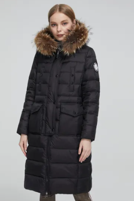 Padded Parka Coats with Real Fur Belt Puffer Coat