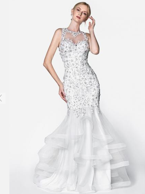 White Gorgeous Long Mermaid Prom Dress