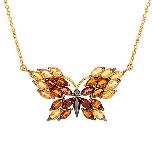 "20"" 5.13ctw Multi Gemstone Butterfly Necklace"