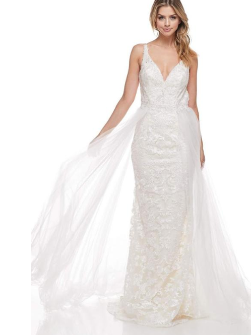 Sheath A-Line Embroidery Beading Crystals Bridal Gown