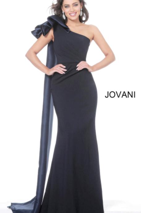 Jovani 1008 Navy One Shoulder Ruched Waist Evening Dress