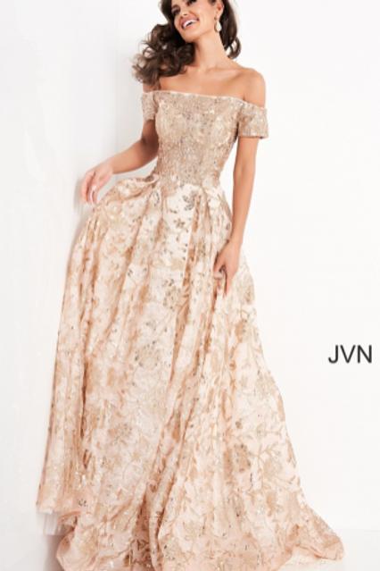 JVN03013 Off the Shoulder A Line Evening Dress