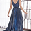 Thumbnail: A-line pleated gown with glitter metallic finish and deep plunge v-neckline.