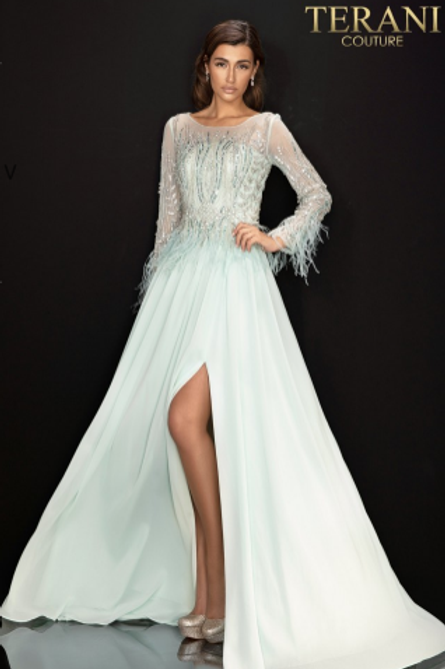 Terani Couture Crystal and Feathered Side Slit Gown
