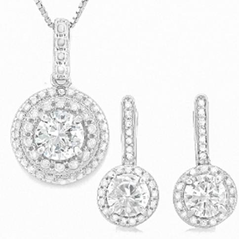 DIAMOND SET - NECKLACE & EARRINGS ON STERLING