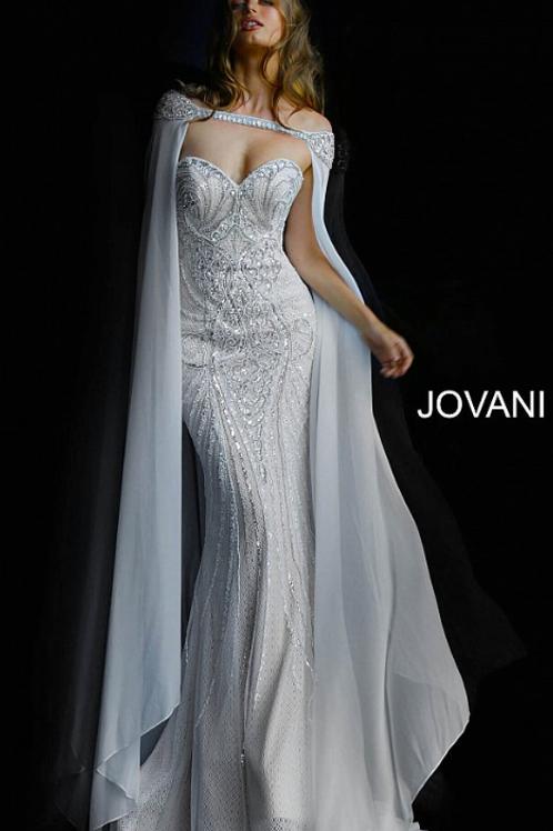Jovani 45566 Ivory off the Shoulder Embellished Wedding Dress