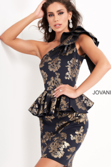 JOVANI Navy Gold One Shoulder Short Contemporary Dress M3289