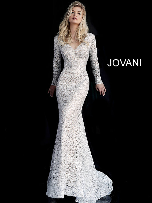Silver Lace V Neck Long Sleeve Evening Dress 61887