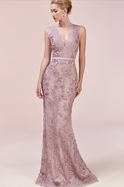 Mignon Manley Lace & Sequin Gown