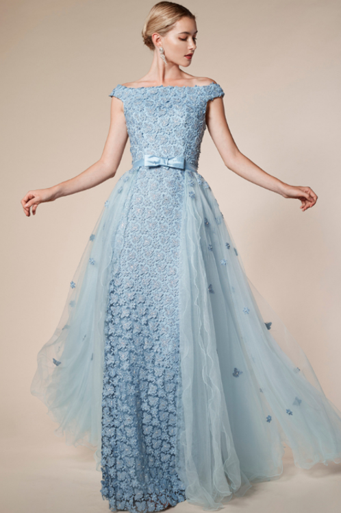 Tulle A-Line Overskirt Gown