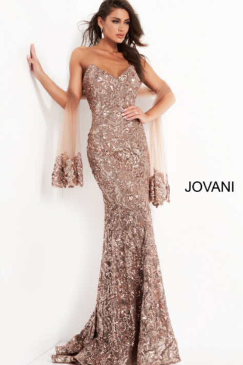 Jovani 05054 Copper Sequin Embellished Evening Dress
