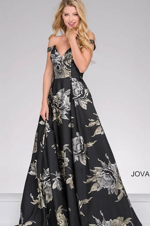 JOVANI Black & Silver Floral Print Gown
