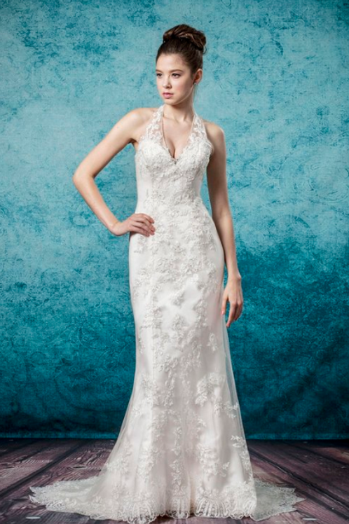 Mignon Manley Halter Top Embroidered Bridal Gown