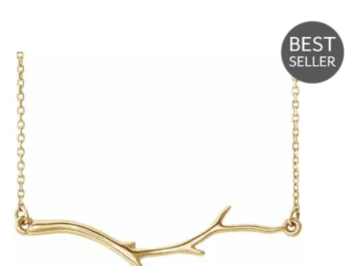 "14K Yellow Branch Bar 16-18"" Necklace"