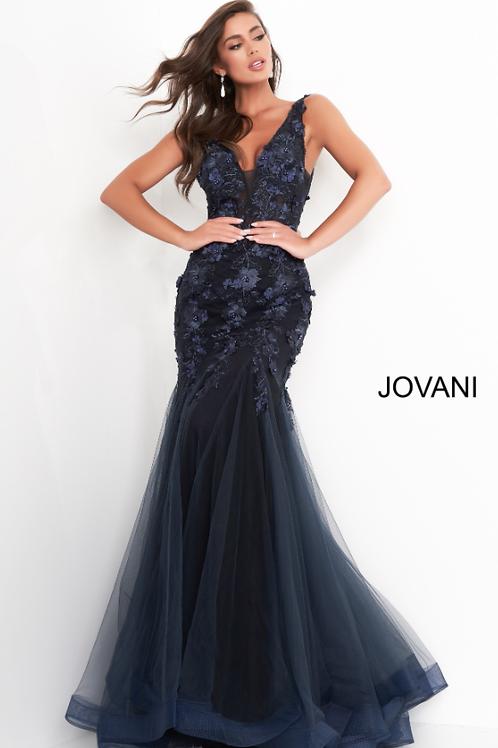 Jovani 8066 Navy Black Floral V Neck Mermaid Evening Dress