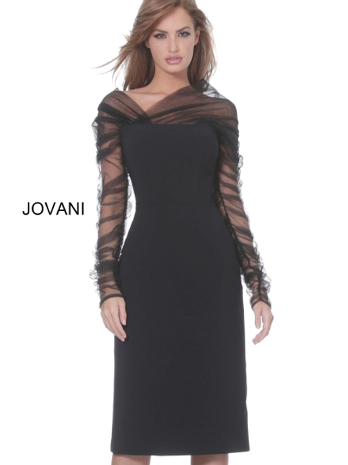 Jovani 03810 Black Long Sleeve Knee Length Cocktail Dress