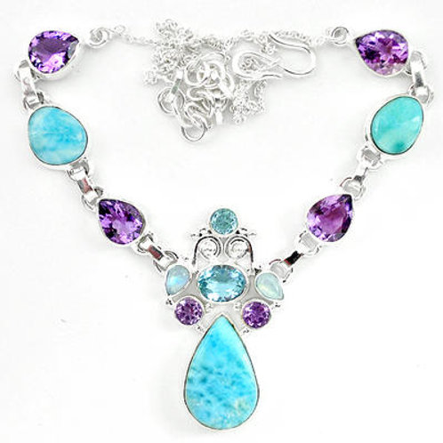 Natural Blue Larimar Moonstone Amethyst 925 Sterling Silver Necklace