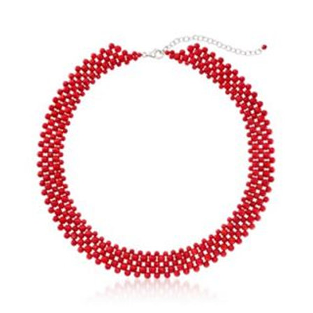 NECKLACE, Bright Coral Beads make up this chic, vivid