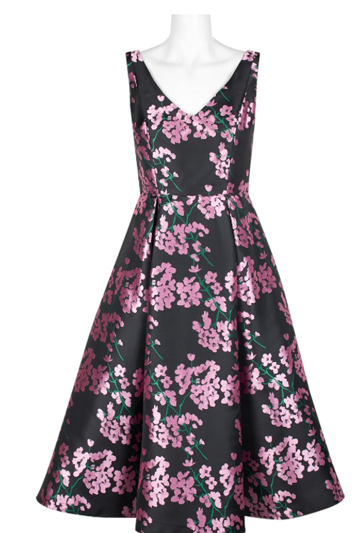 Adrianna Papell V-Neck A-Line Sleeveless Box Pleat Floral Jacquard Dress