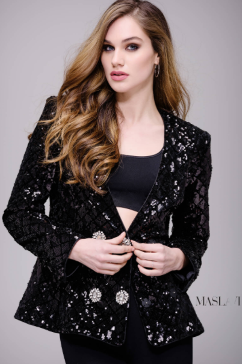 Black Sequined Ready to Wear Blazer by Jovani M52083