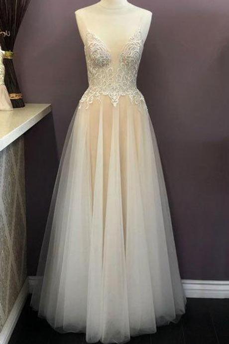 Mignon Manley Maxi Spaghetti Straps Evening Prom Dress