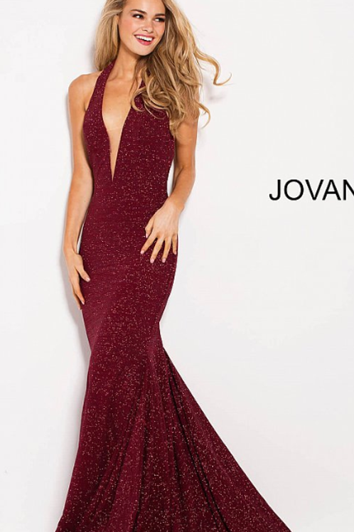 Wine Glitter Halter Neck Jovani Dress 55414