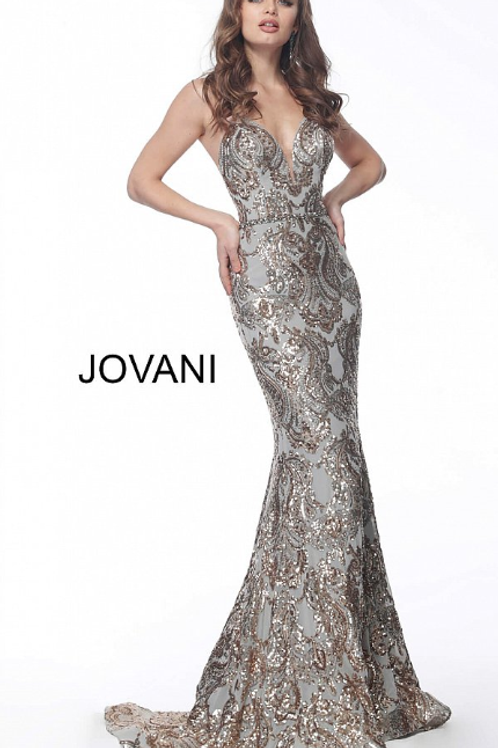 Gold Silver Sweetheart Neckline Sequin Prom Dress 67347