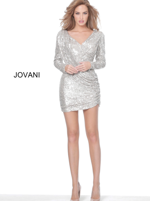 Jovani 03937 Nude Silver Cowl Back Sequin Short Dress