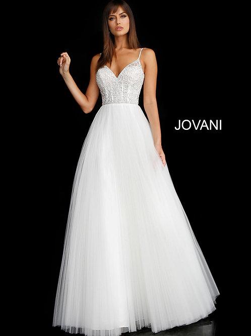 Off White Embellished Bodice A Line Wedding Dress JB68163